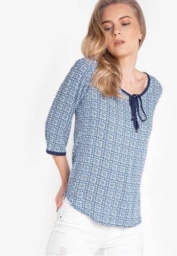 Freego blue Ladies Printed Quarter Sleeves Shirt FR760AA45PVAPH_1