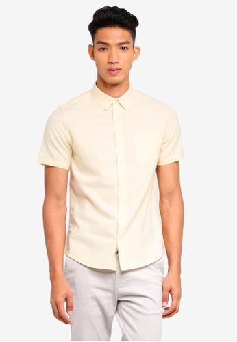 Burton Menswear London 黃色 短袖牛津襯衫 FB44EAAF6ADCC4GS_1