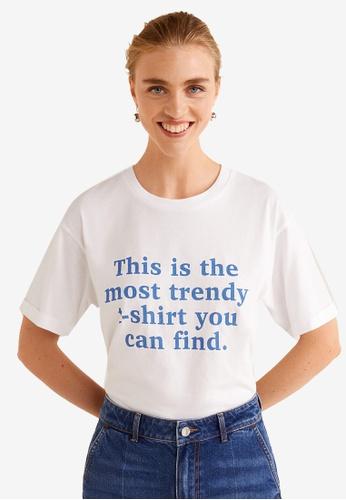 Mango white and blue Organic Cotton Message T-Shirt 854B4AA083EF9FGS_1
