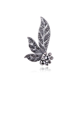 Glamorousky black Fashion and Elegant Flower Leaf Brooch with Black Cubic Zirconia 0B00DAC2761783GS_1