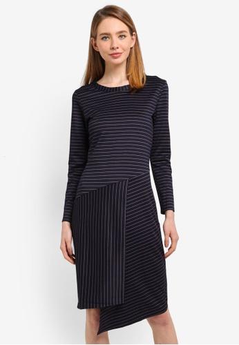 CLOSET navy 3/4 Sleeve Wrap Dress 45081AA6F2CA92GS_1