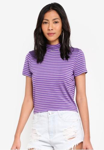 Factorie purple Short Sleeve High Neck Top DA14CAA8890A1DGS_1