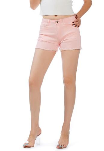 London Rag pink Pink Raw Hem Denim Shorts 376D3AA0ABA468GS_1