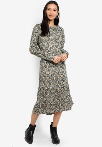 582771d7c0ae Shop Pieces Gail Long Sleeve Midi Dress Online on ZALORA Philippines