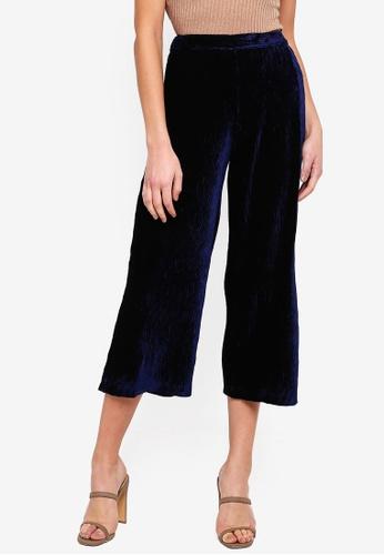 Miss Selfridge green Velvet Plisse Crop Wide Leg Trousers 160C2AA210AEF3GS_1
