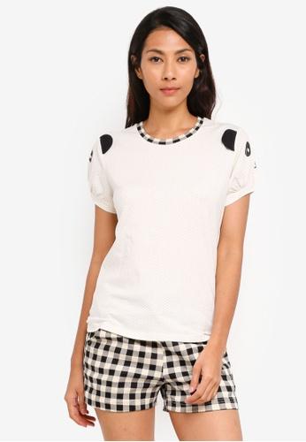 UniqTee white Cute Panda Graphic Tee and Plaid Pajama Shorts 8071BAA1B30F40GS_1