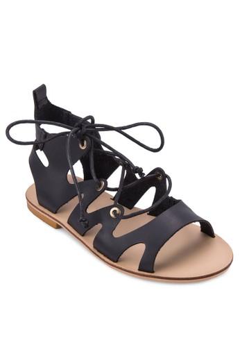 Mzalora 包包 pttorgin 繫帶鏤空羅馬涼鞋, 女鞋, 鞋