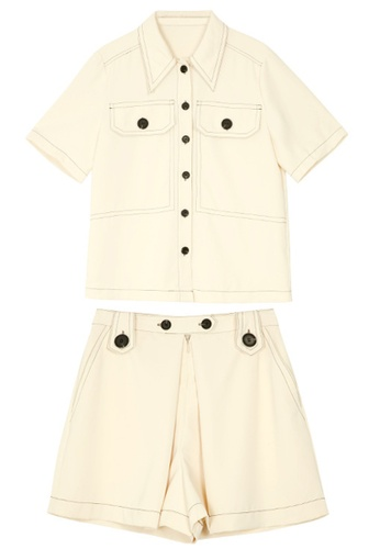 Sunnydaysweety white Button Down Shirt with A-Line Shorts Set A21032019W BE1D7AA77669C3GS_1