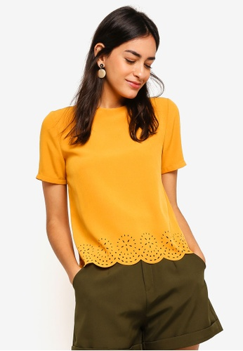 ZALORA yellow Laser Cut Blouse A0900AAF0AD772GS_1