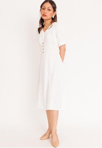 Hook Clothing white Button Flare Midi Dress F0E28AA027DE5EGS_1