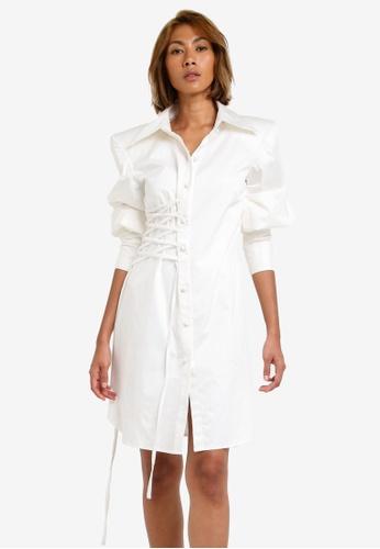 AfiqM white Midi Bishop Sleeve Shirtdress AF546AA0S2LXMY_1