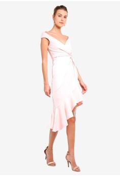 6bb477be699d Goddiva pink Pink Ruffle Twist Dress A6C32AA7568B1CGS 1