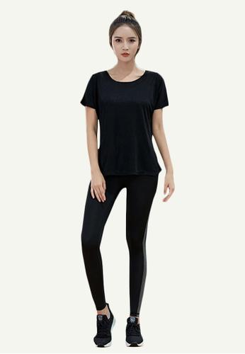 B-Code black ZYG5085-Lady Quick Drying Running Fitness Yoga Sports Bra, Top and Leggings Three Pieces Set-Black 7B74EAA6601D4DGS_1