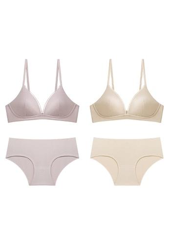 K.Excellence beige Premium Comforn Purple & beige Lingerie Set (Bra and Underwear) 5485CUS1E2A59FGS_1