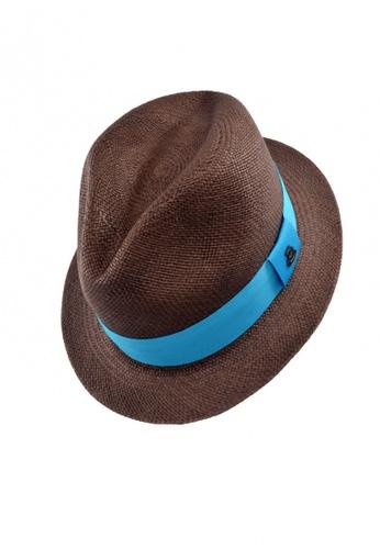 ECUA-ANDINO brown Ecua-Andino Adrian Brown Panama Hat (Blue Band) DO290AC0S2HAMY_1