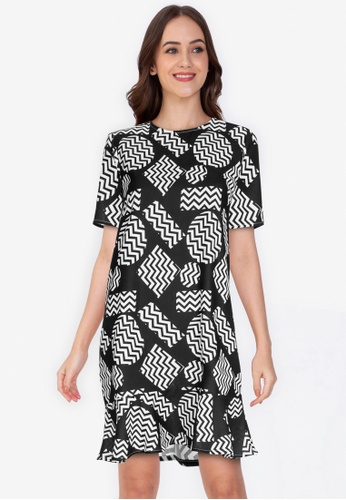 ZALORA WORK 多色 Short Sleeve Peplum Hem Dress 14ECBAA76C32D3GS_1