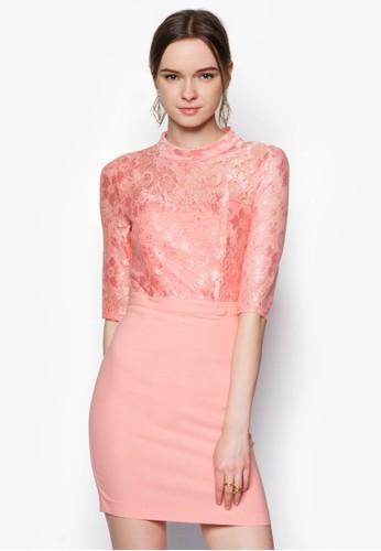 esprit causeway bay蕾絲拼接高領洋裝, 服飾, 絕美洋裝