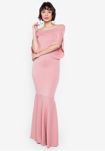 Hug pink Danna Off-shoulder Tulip Accent Dress C2634AA54F5DF7GS_1