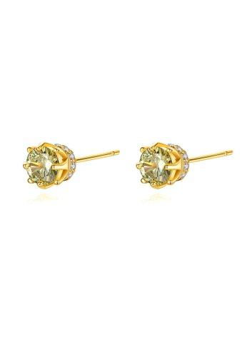 SUNRAIS gold Premium Silver S925 golden hexagonal earrings 96A9CAC7923191GS_1