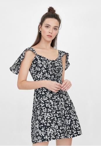 Pomelo black Cap Sleeves Floral Dress - Black 665DCAA9E7A13CGS_1