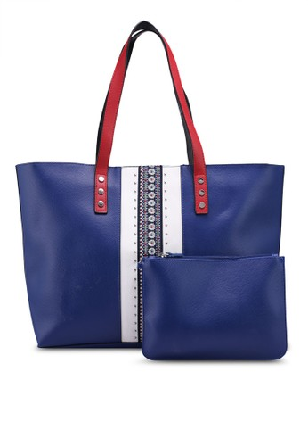 OVS blue Shopping Bag With Trim And Studs CE73CACBE433B3GS_1
