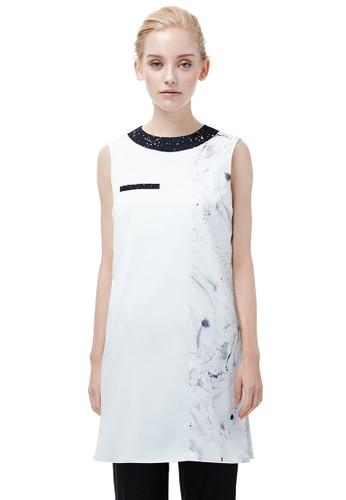 開衩長版印花上zalora退貨衣, 服飾, 夏日洋裝