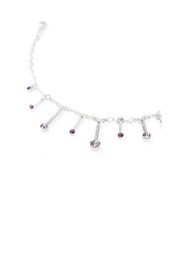 Glamorousky purple Elegant Charms Anklet with Purple Austrian Element Crystals 812C4AC6BA51D2GS_1