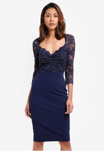 Goddiva navy Half Sleeve Midi Dress With Sweetheart Neckline 534B3AA39376C0GS_1