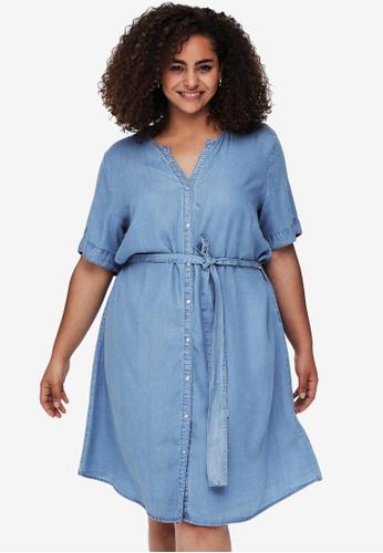 Only CARMAKOMA 藍色 大尺碼 Lili Life 短袖Knee 洋裝 582CCAA8E3F81FGS_1