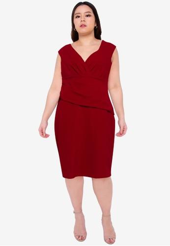 Goddiva red Plus Size Bardot Pleated Midi Dress 18EEEAA219F92EGS_1