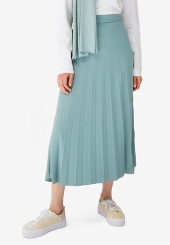 Trendyol green Pleat Maxi Skirt 0ECEDAA0B4476EGS_1