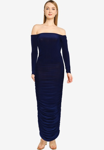MISSGUIDED navy Bardot Slinky Ruched MaxiDress B68E0AA8812CA8GS_1