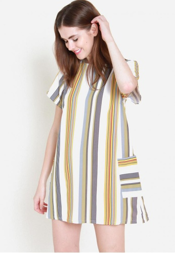 Sophialuv yellow and multi Lining Up Shirt Dress in Sunrise BFDD7AA01DA005GS_1