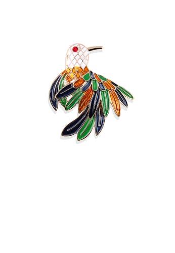 Glamorousky silver Fashion and Elegant Plated Gold Enamel Colored Bird Brooch 2A656AC56CA8F1GS_1