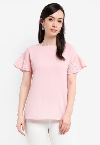Dorothy Perkins pink Pink Lace Sleeve Top 6910BAA4937D92GS_1