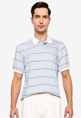 ZALORA BASICS blue and multi Multi Stripe Polo Shirt BBF2EAAE66954CGS_1