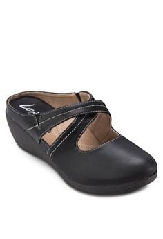 仿皮休閒楔形拖鞋