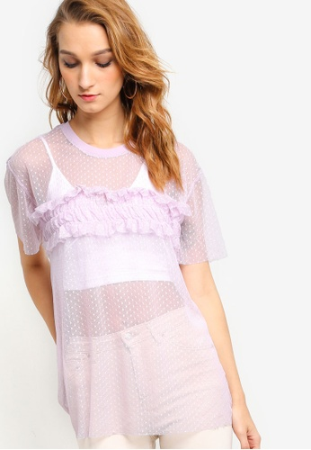 TOPSHOP purple Dobby Mesh Ruffle T-Shirt TO412AA84NNVMY_1