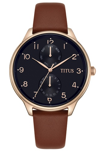 Solvil et Titus black and gold Women's Analogue Quartz Watch In Blue Dial And Brown Leather Strap EFBAAACFF7ECFFGS_1
