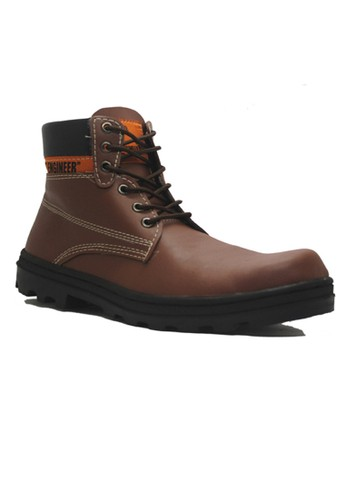 Cut Engineer brown Cut Engineer Classic Shoes Iron Safety Boots Leather Dark Brown CU226SH89XYSID_1