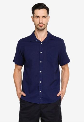 GAP navy Short Sleeves Linen Cotton Shirt 827A9AA61B1508GS_1