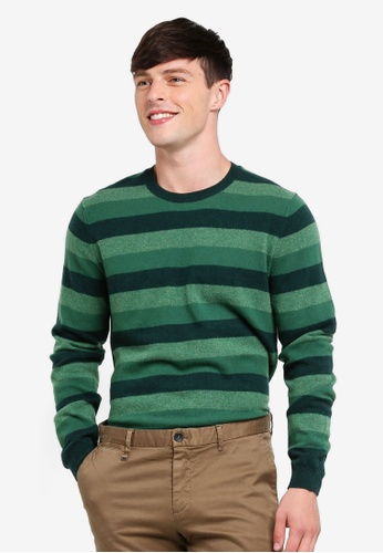 United Colors of Benetton green Round Neck Stripe Knit Sweater 6857AAA580419AGS_1
