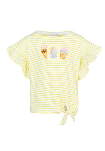 Gen Woo yellow Flutter sleeve T-Shirt 00D50KAE17CC84GS_1