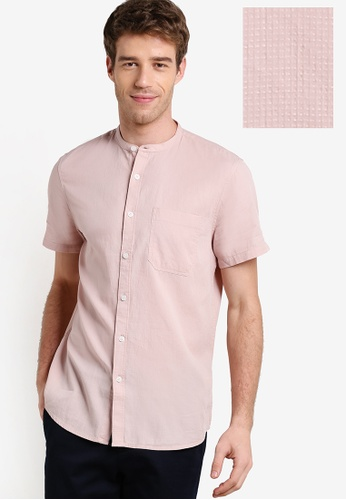 New Look pink Textured Short Sleeve Grandad Collar Shirt NE182AA45EZEMY_1