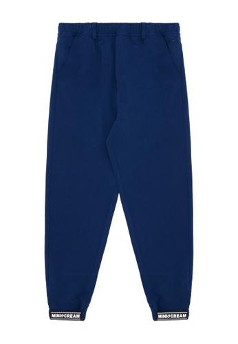 Mini cream blue Logo patch pants 215A6AA01EC75DGS_1