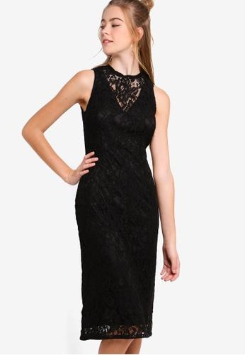 Something Borrowed black Lace Yoke Bodycon Midi Dress 82362AAD377E6DGS_1