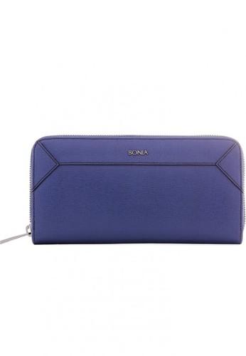 Bonia Dark Blue Sophia Leather Zip Purse