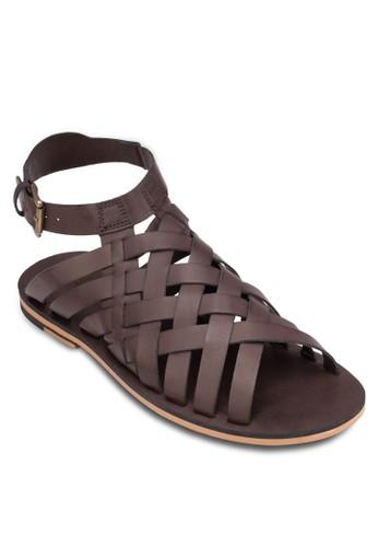皮革交叉帶涼鞋, 鞋,zalora 心得 拖鞋