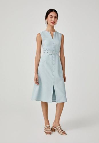 Love, Bonito green Emiri Belted A-line Dress BA7FBAA56B0C54GS_1