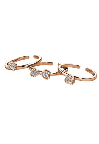 Her Jewellery gold Tri Clover Ring (Rose Gold) - Made with Premium grade crystals from Austria 12DB6AC1BD02F2GS_1
